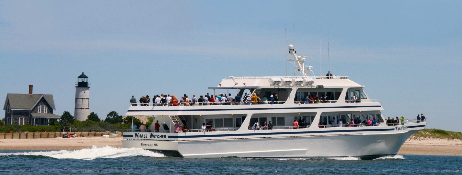 whale watcher passes Sandy Neck